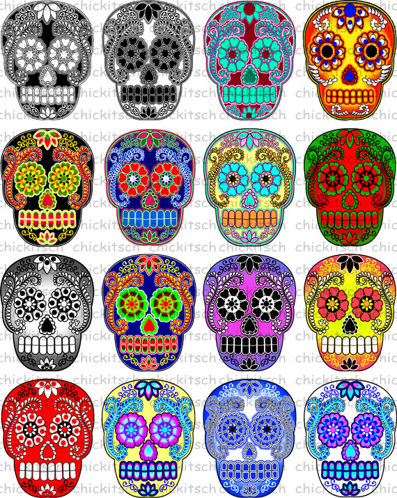 Colorful Sugar Skull Digital Pictures to Print on by ChicKitsch.