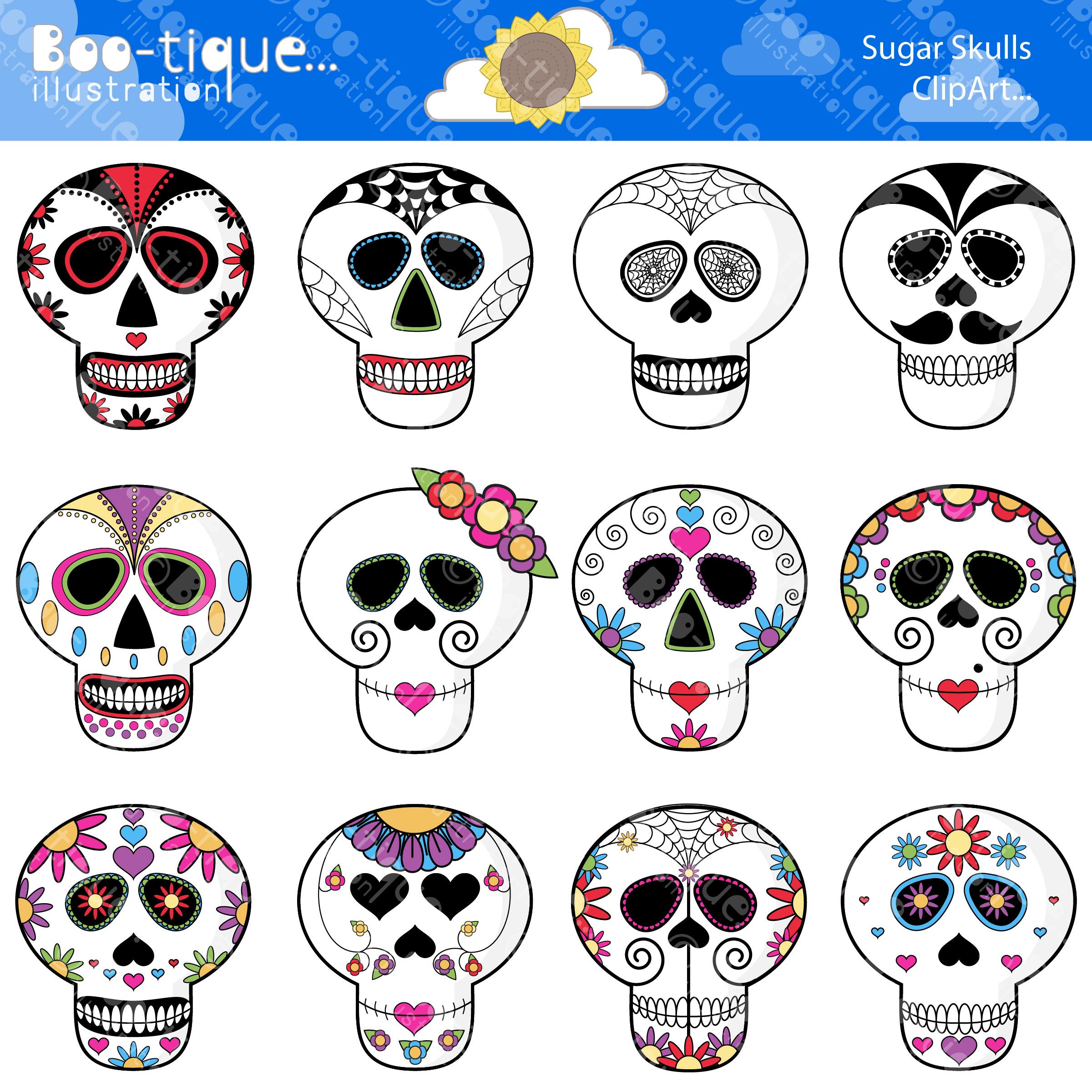 Sugar Skulls Digital Clipart.