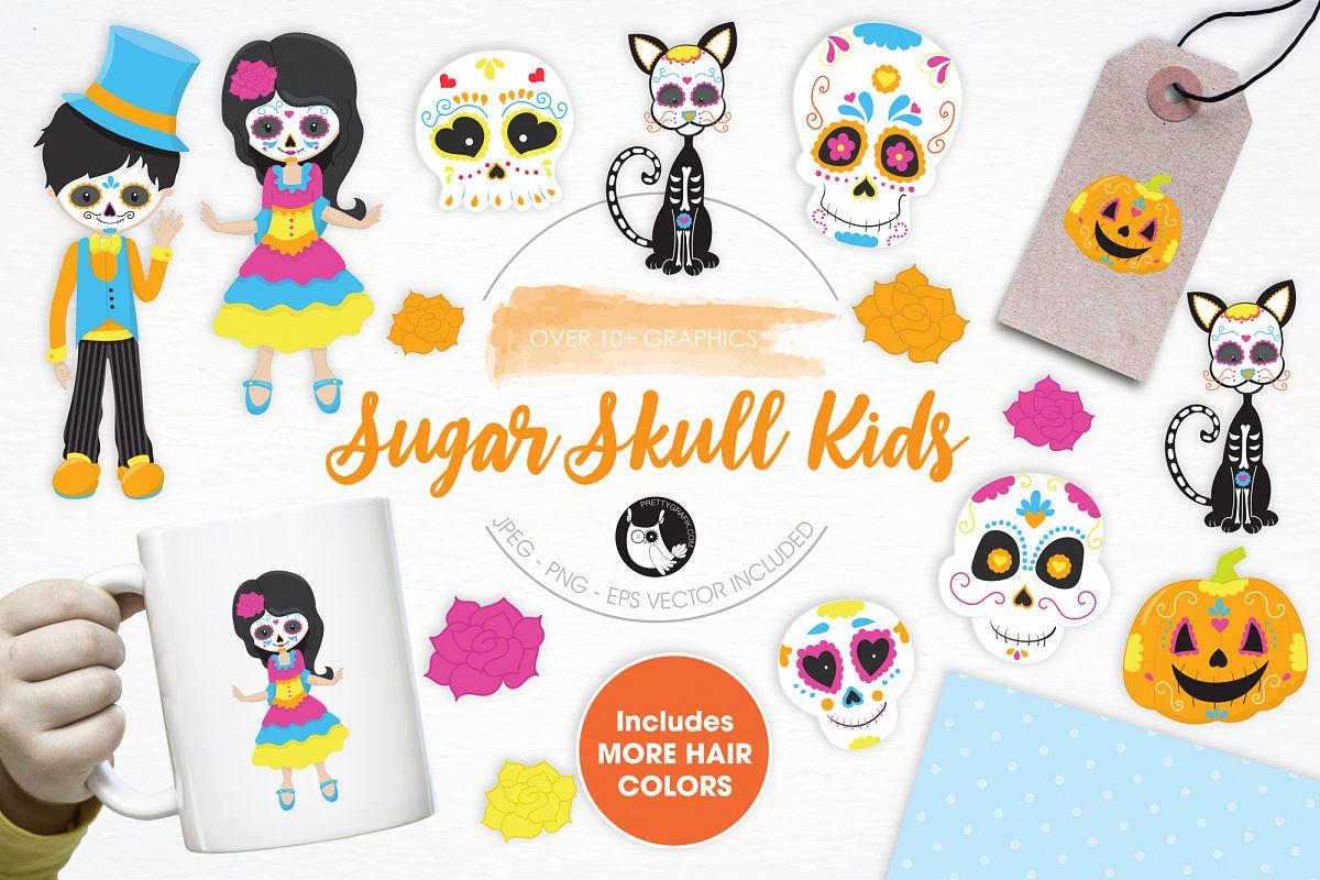 Sugar Skull Kids graphics and illustrations.