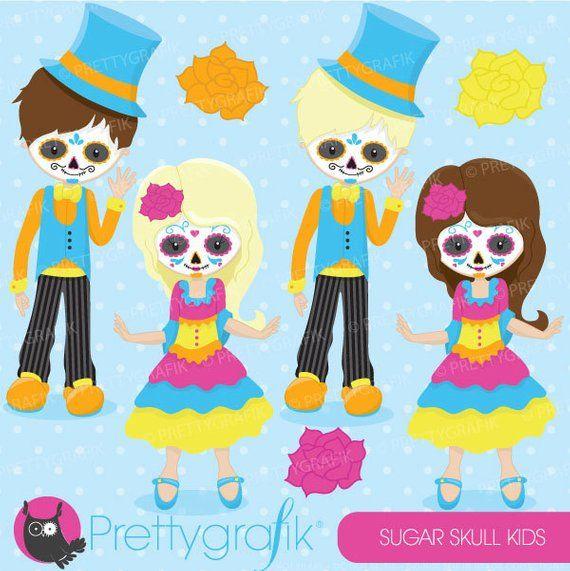 Sugar skull kids clipart commercial use, vector graphics.