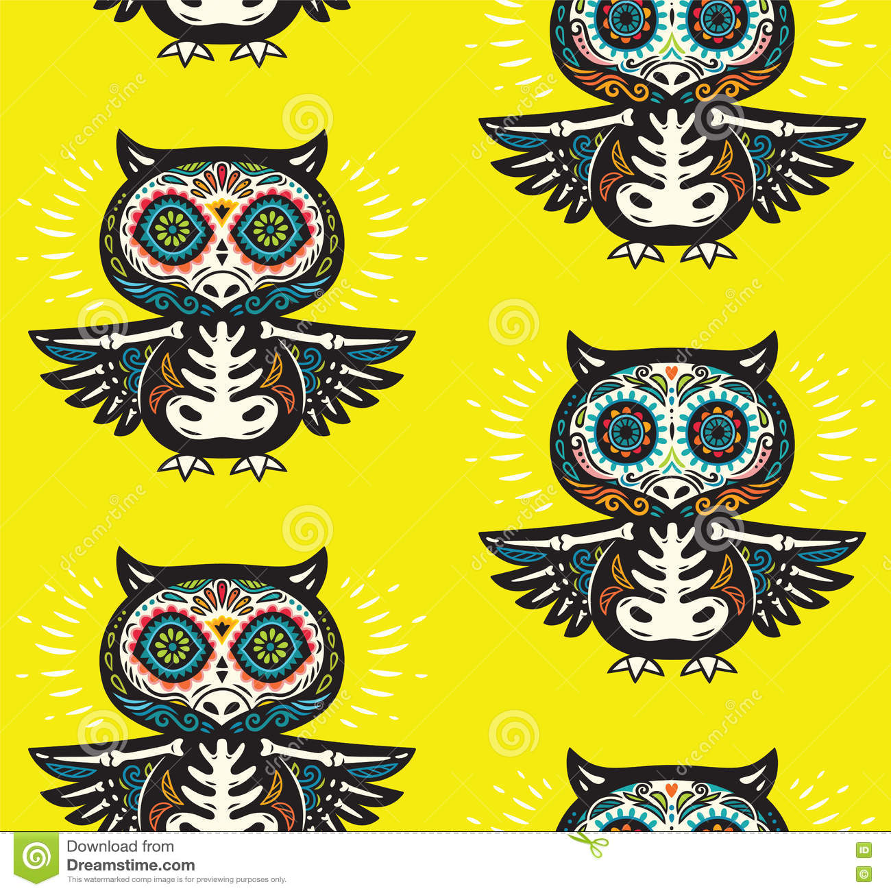 Sugar Skull Owls Pattern. Mexican Day Of The Dead Background Stock.