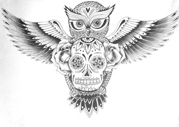 Sugar Skull Owl Clipart.