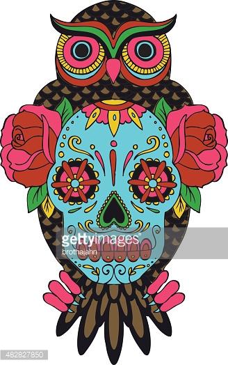 Sugar Skull Owl Vector Art.