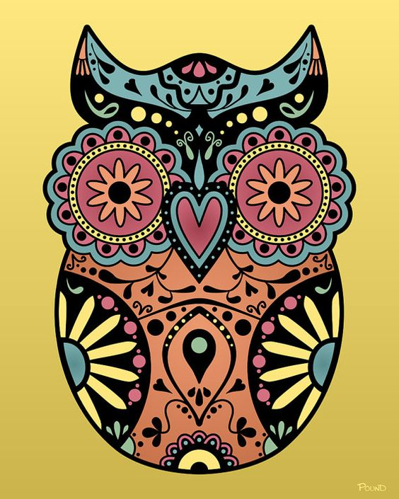 Sugar Skull Style Owl Day of the Dead Design Cute by PlushBot.