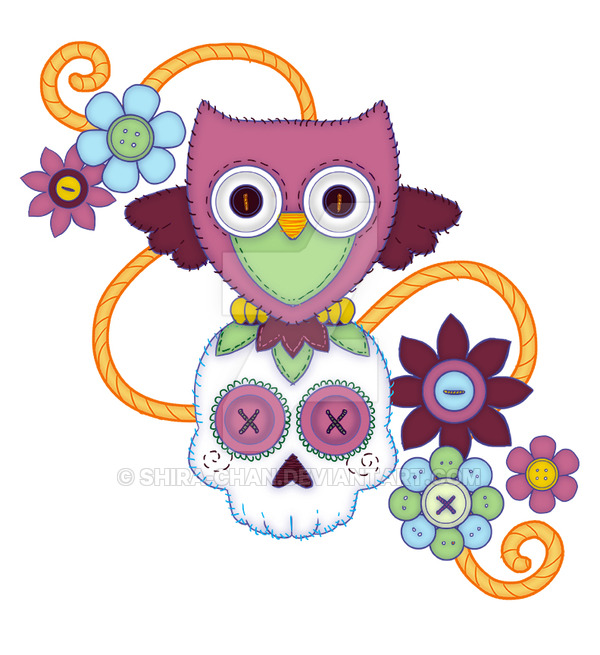 She wanted to combine her love of owls, sugar skulls, and buttons.