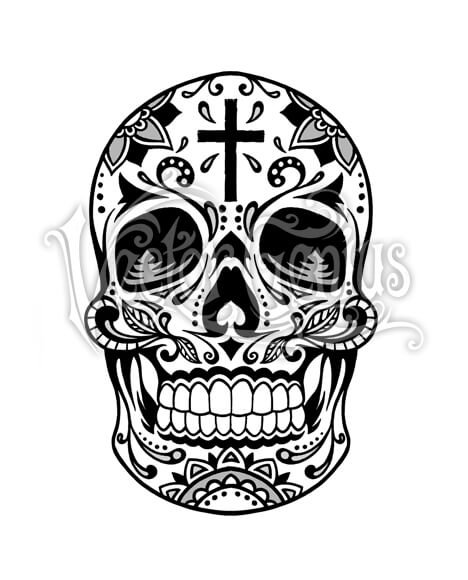 Decorative Sugar Skull with Cross ClipArt.
