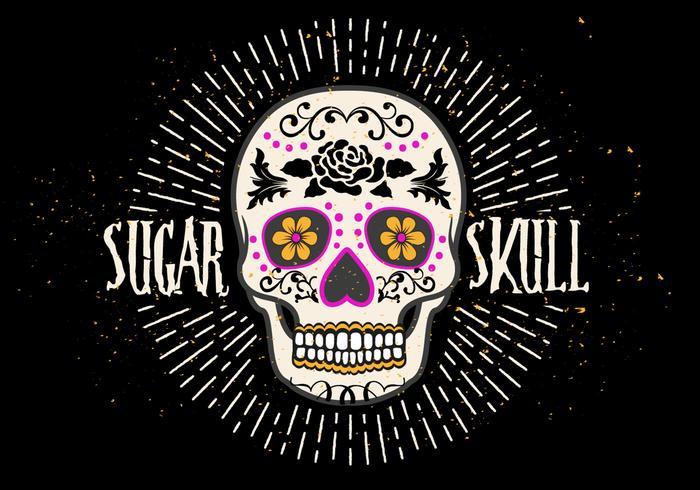Bright Sugar Skull Vector Illustration.