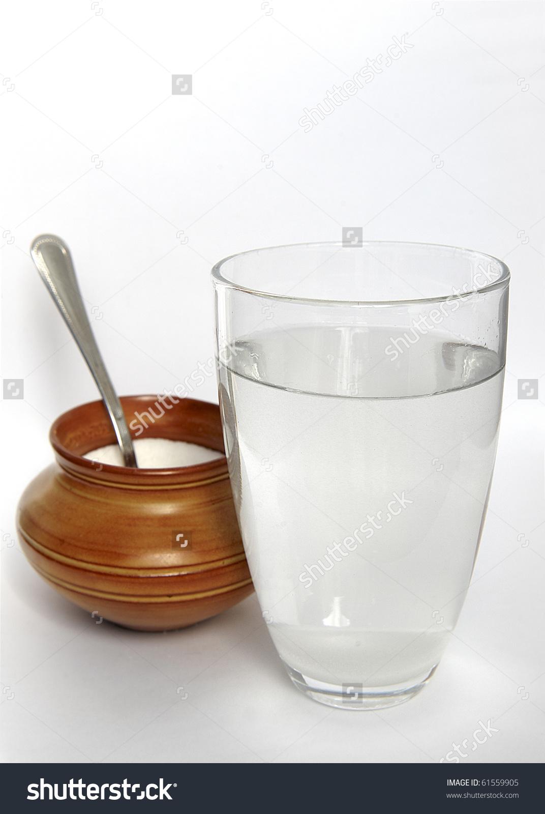 Glass Water Sugar Stock Photo 61559905.