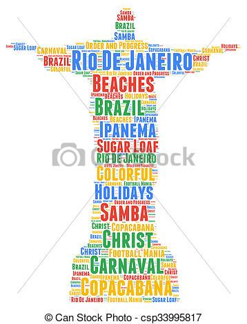 Clipart of Rio de Janeiro word cloud csp33995817.