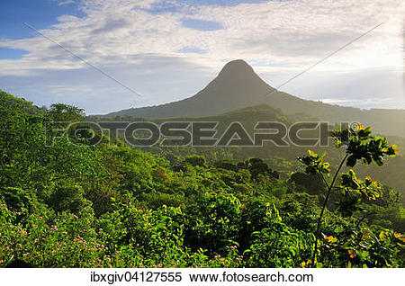 Stock Image of Volcano Mont Choungui, or the small Sugarloaf, near.