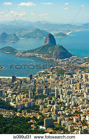 Stock Photography of Aerial view of Rio de Janeiro cityscape and.