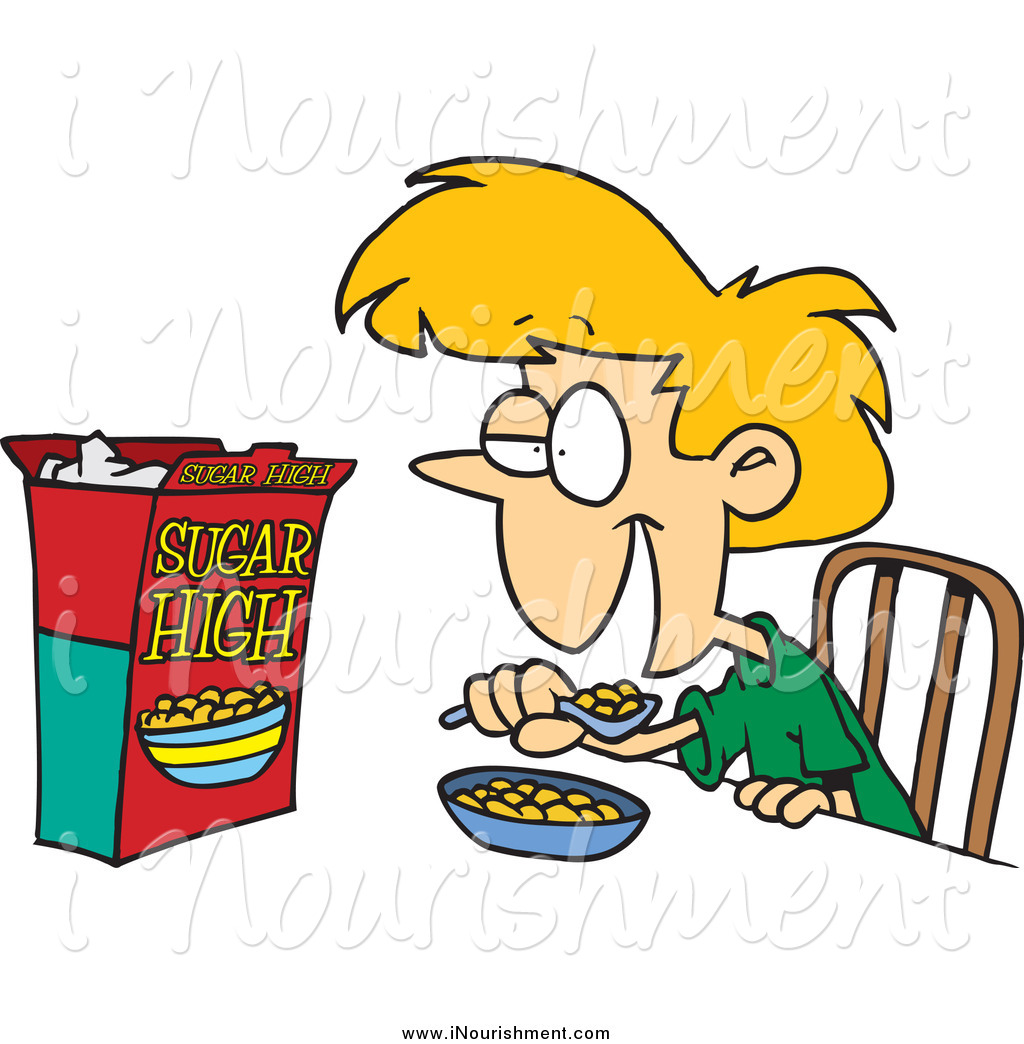 Clipart of a Blond White Girl Eating Sugary Cereal by Ron Leishman.