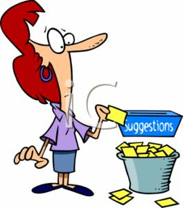 Clipart of a Businesswoman Throwing Bad Suggestions In a Trashcan.