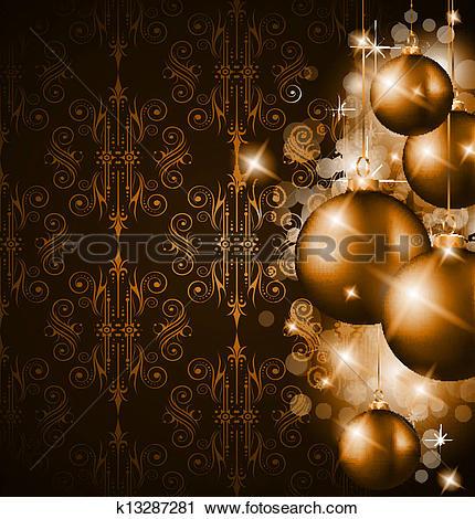 Clipart of Merry Christmas Elegant Suggestive Background k13287281.