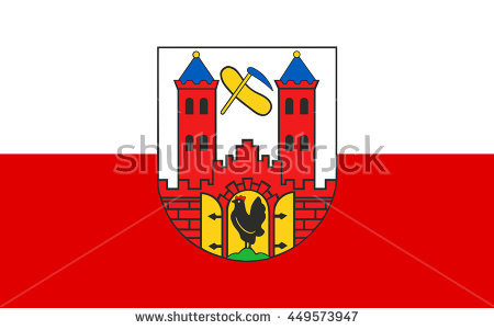 Flag Of Suhl Is A City In Thuringia, Germany Stock Photo 449573947.