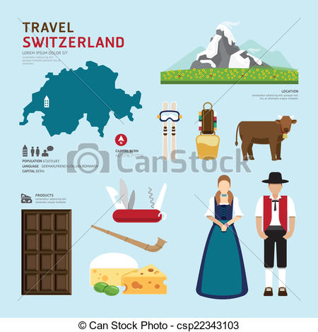 Vector Clipart of Travel Concept Switzerland Landmark Flat Icons.