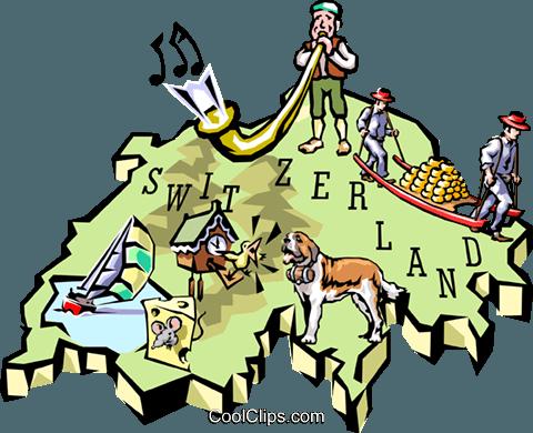Mapa da Suíça livre de direitos Vetores Clip Art ilustração.