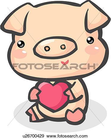 Clip Art of swine, livestock, heart, farm animal, agriculture, hog.