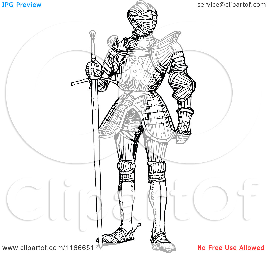 Clipart of a Retro Vintage Black and White Suit of Armour.