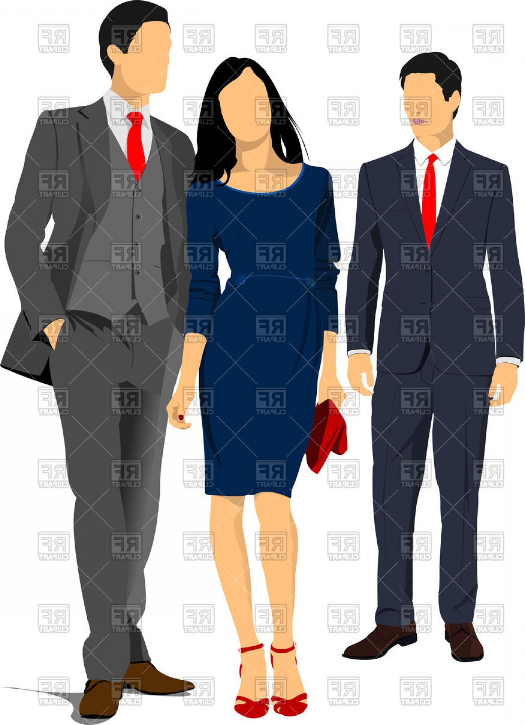 Business People Woman In Dress And Men In Suits Vector.