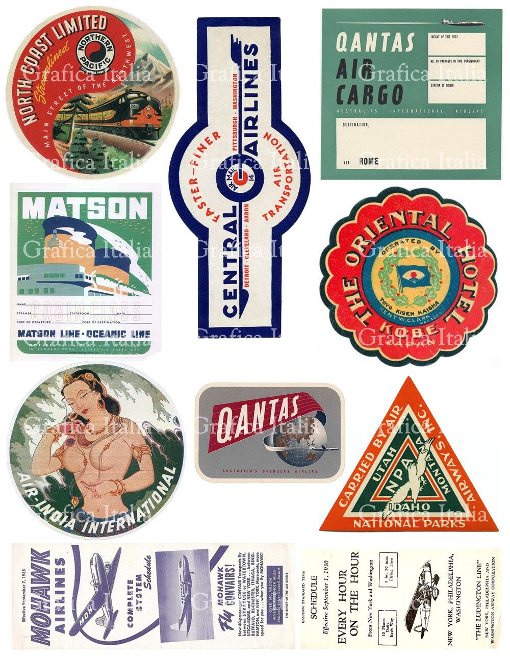 10 Travel Stickers Clipart.