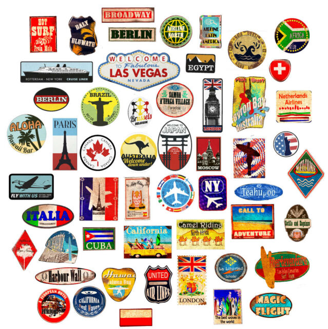 Luggage stickers suitcase patches vintage travel labels retro style vinyl  decals.