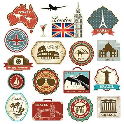 Amazon.com: Retro Vintage Travel Suitcase Stickers.
