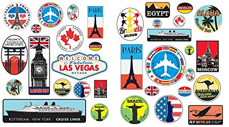 LPS Precut 36 Retro Vintage old fashioned style travel stickers stick on.