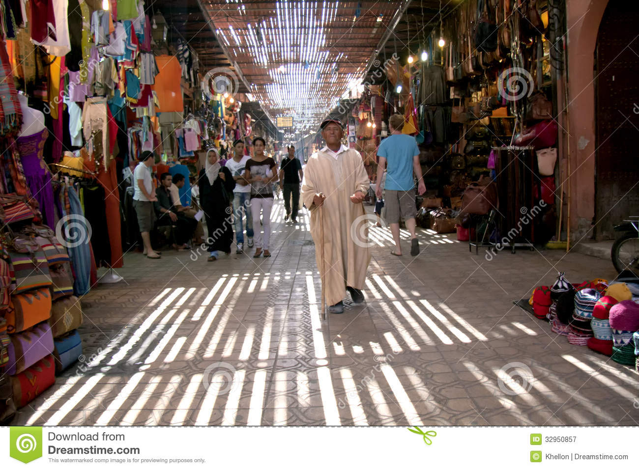 Souk Market In Marrakech, Morocco Editorial Stock Photo.