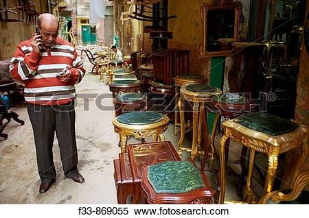 Stock Image of Antiques market, El Attarine souk, Alexandria.