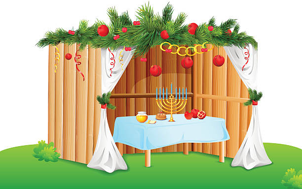 Vector illustration of decorated sukkah for celebrating.