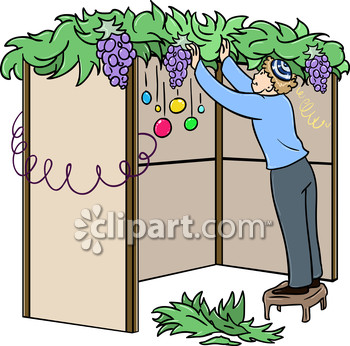 Holiday and sukkah clipart image.