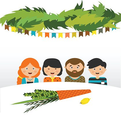 family in the sukkah . sukkot Jewish holiday Clipart Image.