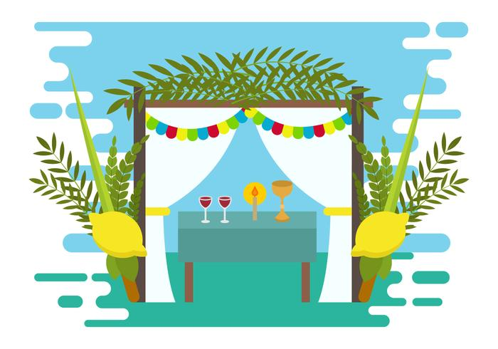 Decorative Sukkah Vector Illustration.