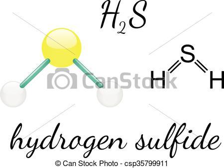 Vector Clip Art of H2S hydrogen sulfide molecule.