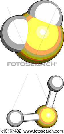 Clipart of Hydrogen sulfide (H2S) toxic gas molecule, chemical.