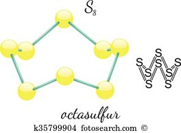 Cyclic octaatomic sulfur Clipart and Illustration. 2 cyclic.