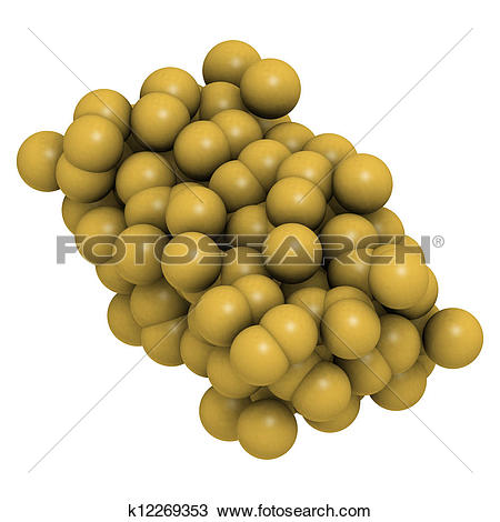 Stock Photo of Sulfur (octasulfur, S8) crystal structure k12269353.