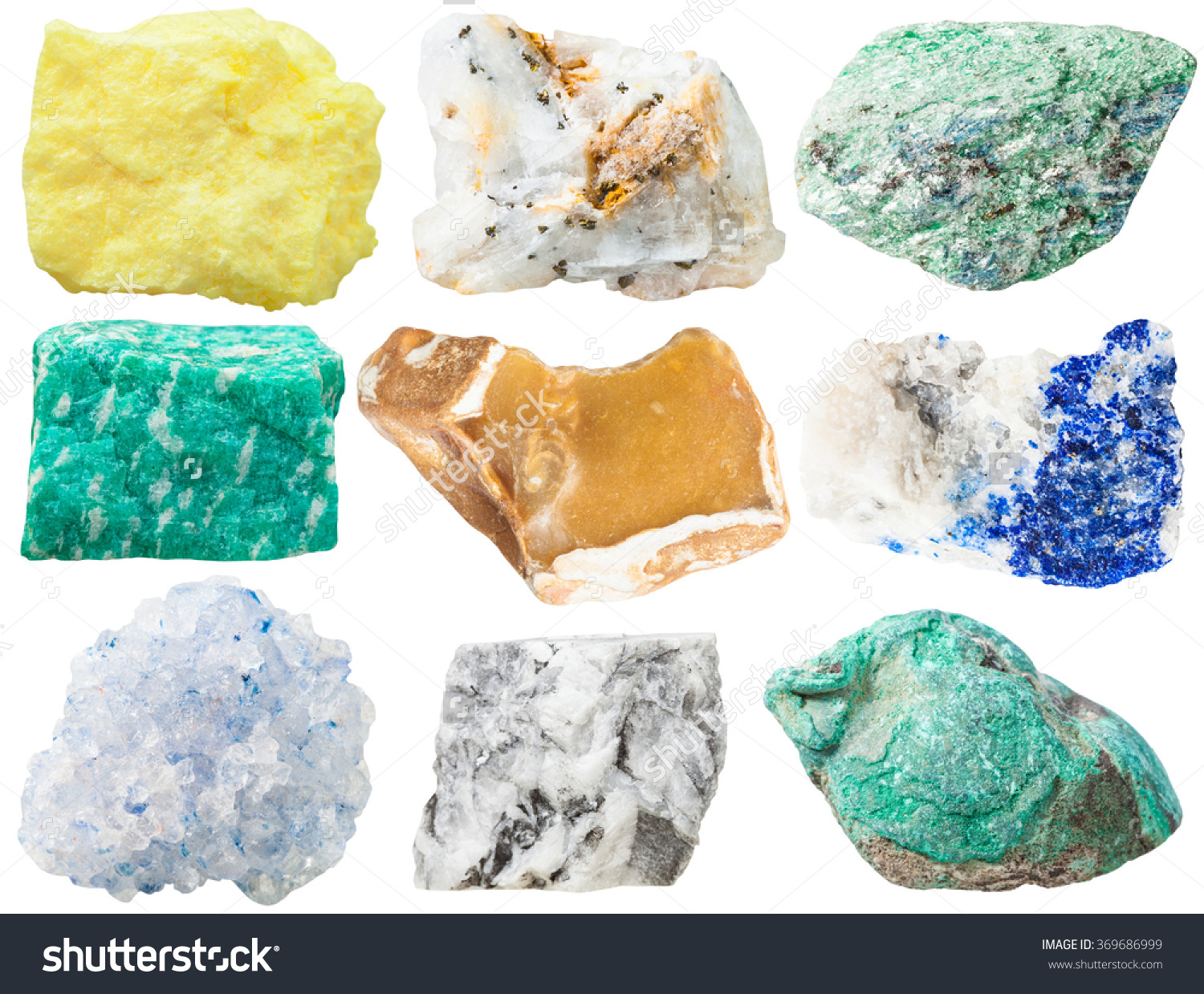 Collection Different Mineral Rocks Stones Sulfur Stock Photo.