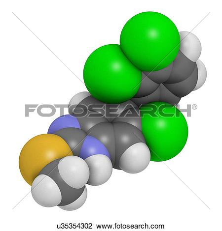 "Clip Art of ""Triclabendazole anthelmintic drug molecule. Atoms are."