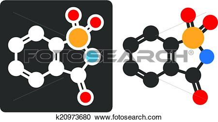 Clipart of Saccharin artificial sweetener molecule, flat icon.