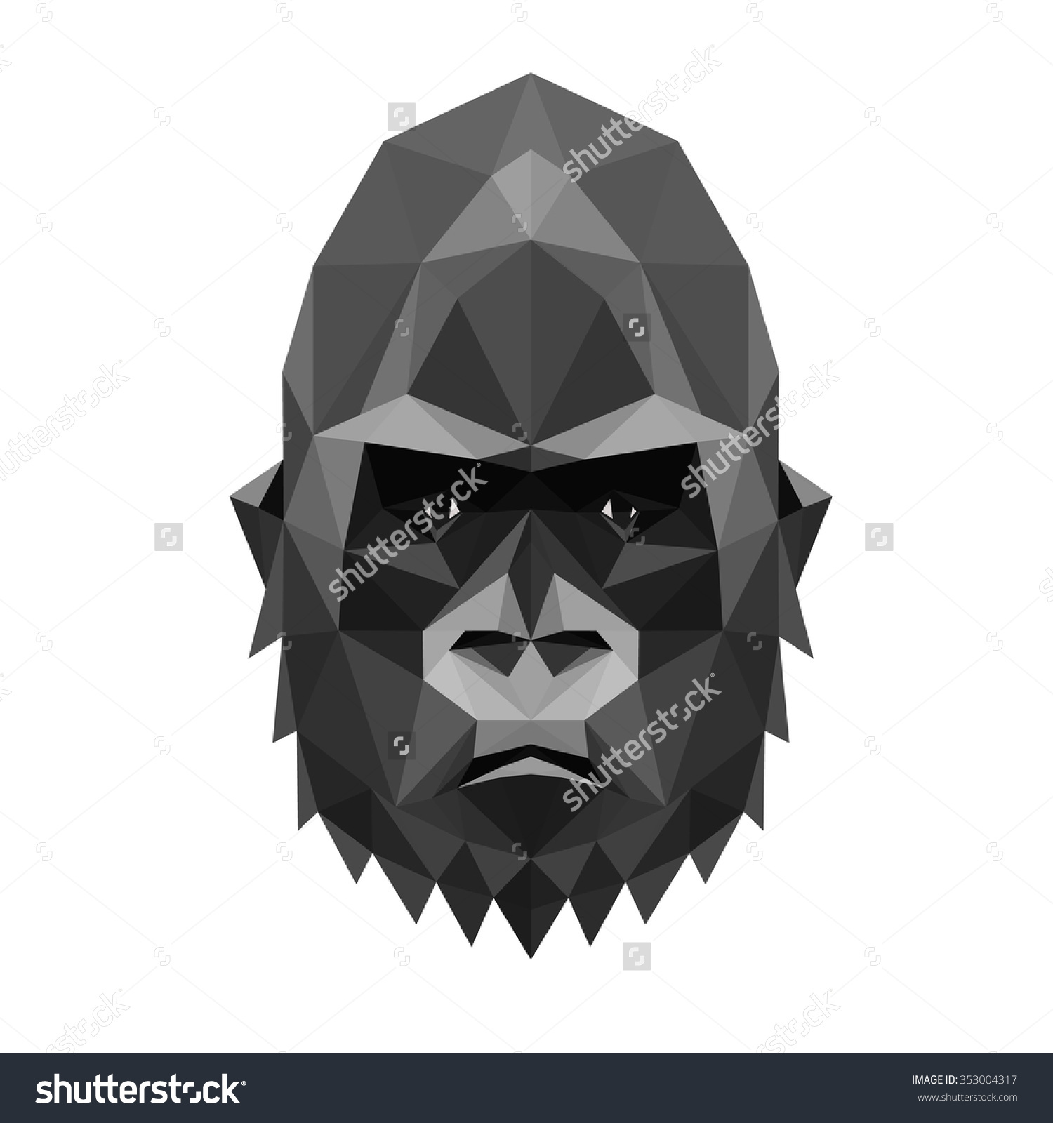 Low Poly Symmetrical Vector Illustration Sullen Stock Vector.