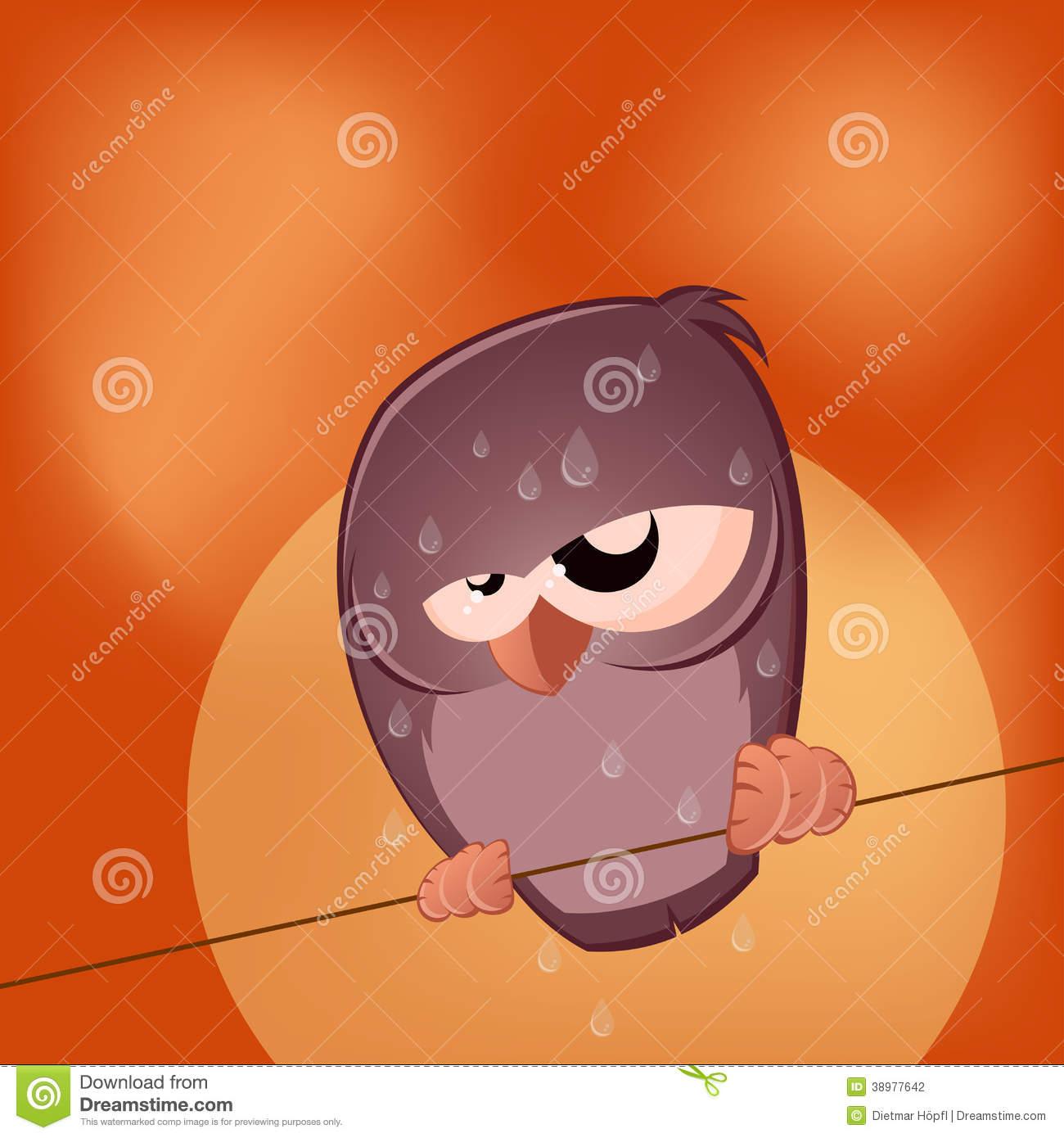 Sullen Cartoon Bird Is Sweating Stock Vector.