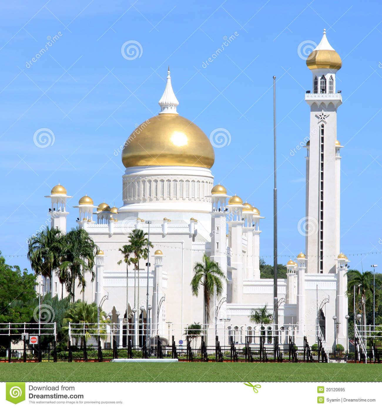 Sultan Omar Ali Saifuddin Mosque, Brunei Royalty Free Stock Photo.