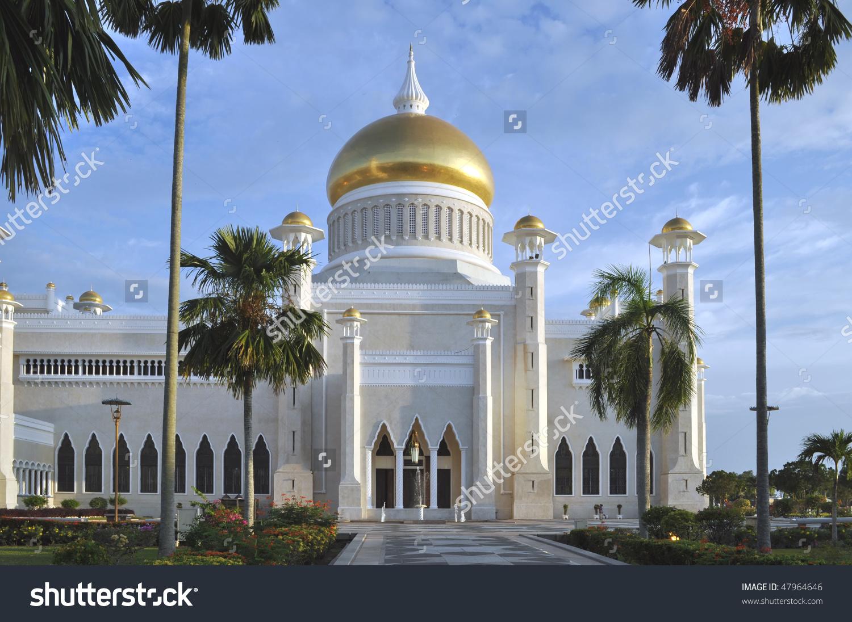 Sultan Omar Ali Saifuddin Mosque, Brunei Stock Photo 47964646.