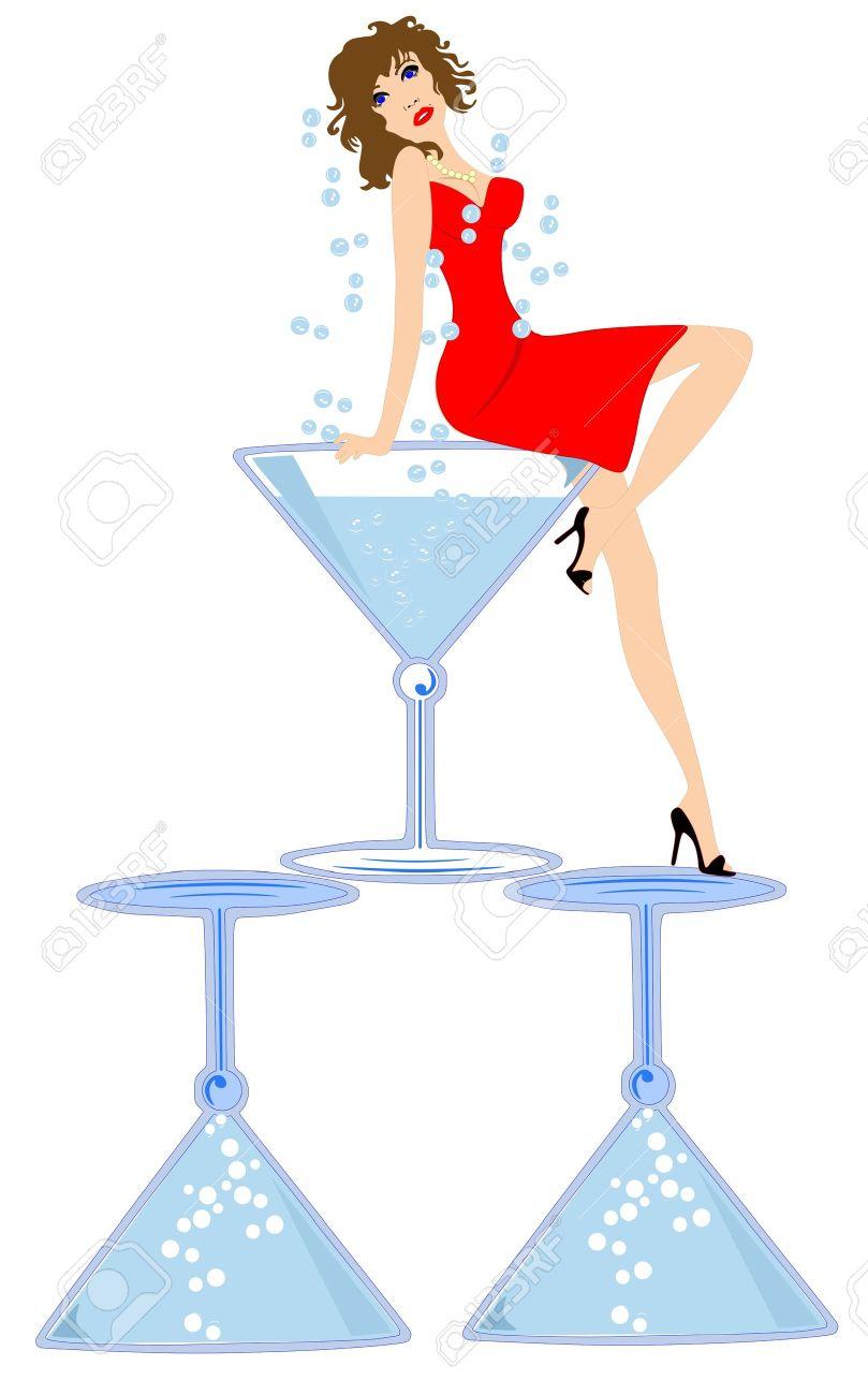 Girl in martini glass clipart.