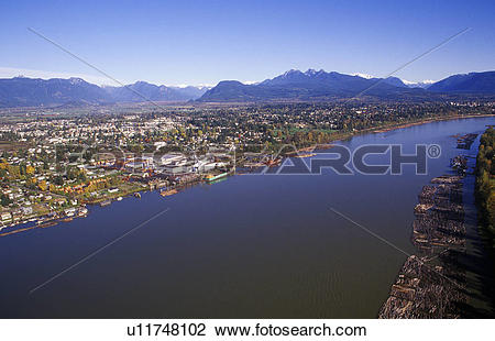 Stock Photo of Aerial of the town of Haney and the Fraser River.