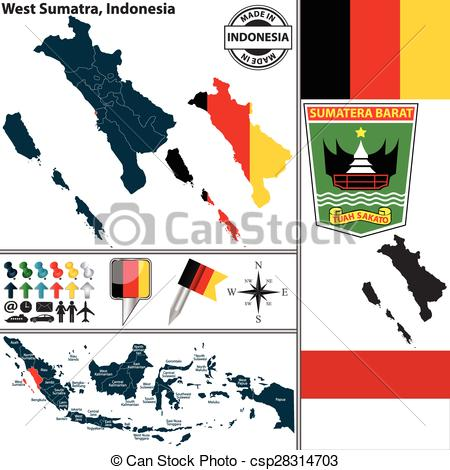 Vector Clipart of Map of West Sumatra, Indonesia.