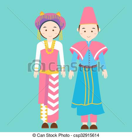 Vector Clip Art of couple men woman wearing traditional wedding.