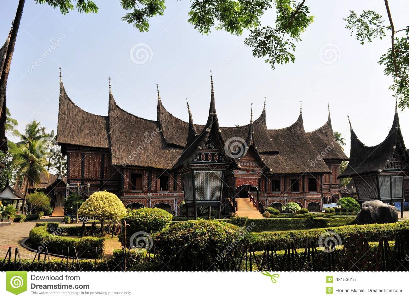 Traditional House On West Sumatra, Indonesia Stock Photo.